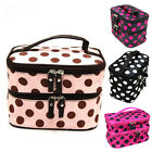 Tide Lady's Wave Dot Case Makeup Double Cosmetic Hand Bag Tool Storage