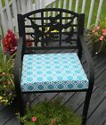 Blue White Chain-Link / Geometric Chair Cushion Pad -Choose Size-In / Outdoor