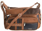 Womens / Ladies Soft Leather Multicolour Patch Bag / Dual Main Compartments
