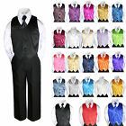 23 Color Satin 4 Piece Set Vest Necktie Boy Baby Toddler Formal Tuxedo Suit 8-20
