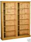 Solid Pine Bookcase, 6ft x 5ft Handcrafted & Lacquered Adjustable Book Shelving