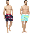 S41 Mens Swim Striped Print Elasticated Shorts Beach Summer Mesh Lined