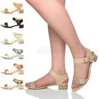 WOMENS LADIES LOW BLOCK HEEL BUCKLE ANKLE STRAP CLASSIC EVENING SANDALS SIZE