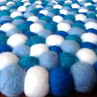 Mixed Blue Original Mimosa Design 100% Wool Felt Ball Rugs Kids Nursery Boys Mat