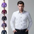 Classic Mens Solid Luxury Long Sleeve Casual Fit Stylish Dress Shirts T-Shirts