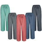 New Ladies Women Pull On Summer Linen Look Wide Leg Trousers Plus Size 12-24