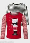 New Baby's Girl's Kid's Twin Pack Long Sleeve Cotton T-Shirt Top Age 1-2 Years