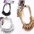 Exotic Punk Aesthetic Multilayer Gold Pendant Necklace Hand-Woven Tide