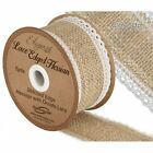 PER METRE OR 4M ROLL - 50mm HESSIAN & LACE EDGE Ribbon