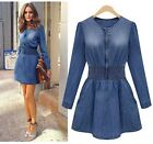 NEW Fashion Women Slim Fit Denim Jean Trench Long Jacket Outwear Casual Dress LA