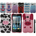 For Alcatel OneTouch Evolve 2 4037T DIAMOND BLING HARD Case Phone Cover + Pen