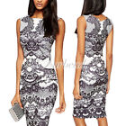 New Sleeveless Contrast Lace Print Knee-Length Party Cocktail Evening Midi Dress