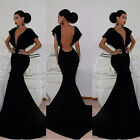 Sexy Mermaid BLACK Deep V-Neck Celebrity Cocktail Evening PARTY Long PROM Dress