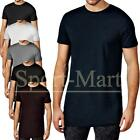 Mens Soulstar Basic Longline Plain Crew Neck Cotton T-Shirt Retro Tee Size