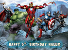 EDIBLE ICING AVENGERS ASSEMBLE SUPER HEROS COMIC BOOK BIRTHDAY CAKE TOPPER