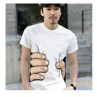 Fashion Men's 3D Big Hand Printed Funny Catch You Short Sleeve Tee T-shirt LA