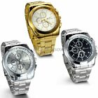 Stainless Steel Band Quartz Analog Elegant Classic Casual Mens Wrist Watch image