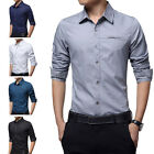 STO Men's Fashion Slim Fit Business Button Collar Long Sleeve Luxury Dress Shirt