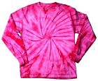 Pink Long Sleeve Tie Dye T-Shirt Adult S to XXXL 100% Pre-Shrunk Cotton Hanes