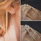 New Women Simple Fashion Leaves Tassel Ear Clip Earrings Ear Jewelry Tide