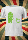 New Funny Android Robot Peeing On Apple T-shirt Vest Top Men Women Unisex 1989