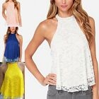 Women Summer Casual Slim Lace Sleeveless Tops Vest Loose T-Shirt Blouse