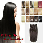 New Full Head Clip in Real Human Hair Extensions Black Brown Blonde Red