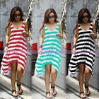 Sexy Lady Womens Boho Stripe Summer Beach Dress Long Vest Sundress 3 Colors