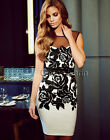 Womens Sexy V Back Black &White Bodycon Party Cocktail Evening knee Length Dress