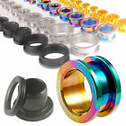 Pair ear flesh tunnels screw surgical stainless steel gauge plugs stretched 9CQN