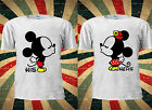 Disney Kissing Mickey Minnie Mouse Cute Couple Romantic BF T-shirt Top Men Women