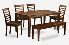 Capri 6 Pieces dining with bench set-table and 4 chairs and Bench