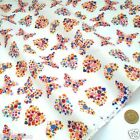 per metre/ FQ WHITE  BUTTERFLY / HEART polycotton fabric dressmaking/craft