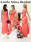 Coral Bridesmaid Dress Dresses Evening Ball Party Prom Formal Wedding