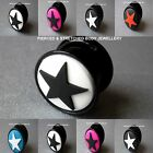 Ear Plugs available from 3mm to 24mm Screw fit plugs with stars black red white