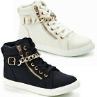 LADIES HI TOP TRAINERS FASHION ANKLE BOOTS ZIP LACE PLIMSOLLS PUMPS CASUAL SHOES