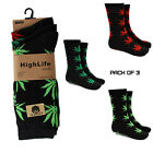 Rasta Hilife Weed Marijuana Cannabis Leaf Kush Socks Adult Unisex 3 in Pack
