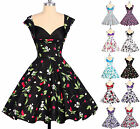 FLORAL Vintage 50's 60's Rockabilly Swing Cocktail Tea Dress Beach Summer Dress
