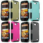 FOR ZTE Overture 2 Case Hybrid Hard Snap on Mesh Case Cover Protector + LCD+Pen
