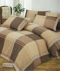 TWO TONE BROWN CHECK DOUBLE-DUVET QUILT COVER + FITTED VALANCE SHEET BEDDING SET