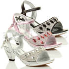 GIRLS KIDS CHILDRENS LOW HEEL STRAP BRIDESMAID PARTY DIAMANTE EVENING SHOES SIZE