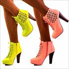 NEW Ladies Cut out Design Platform Block High Heel Lace Up Ankle Boots Size