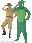 2 in 1 Safari Man & Crocodile Costumes Dundee Steve Irwin Hunter Fancy Dress Fun