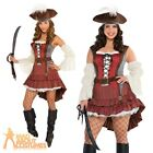 Adult Castaway Pirate Lady Costume Sexy Wench Fancy Dress + Hat Outfit New