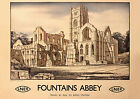 Fountains Abbey, Yorkshire LNER repro vintage railway travel poster in 4 sizes