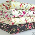 per 1/2 M /fat quarter Tangled Roses floral fabric white ivory mint 100 % cotton