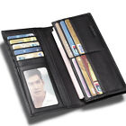 Men Real Leather European Fashion Extra Capacity Black Wallet Money Card Purse