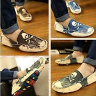 Gommino Casual Mens Casual Canvas Slip On Skull Decor Loafers Driving Shoes 2015