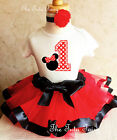 Minnie Mouse Red Black White Baby Girl 1st First Birthday Tu