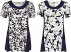 New Womens Plus Rose Floral Print Short Sleeve Flared Ladies Panel Top 12-22